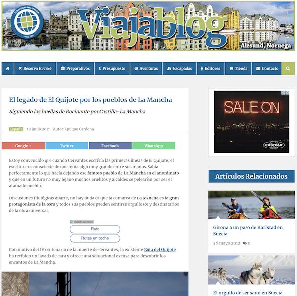 Cabecera Viajablog Ruta El Quijote